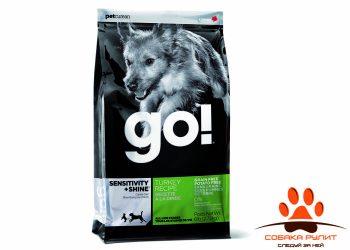 Корм GO! NATURAL Holistic беззерновой для щенков и собак с индейкой для чувствительного пищеварения, Sensitivity + Shine LID Turkey Dog Recipe
