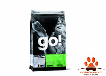 Корм GO! NATURAL Holistic беззерновой для котят и кошек с чувствительным пищеварением с форелью и лососем, Sensitivity + Shine Grain Free Freshwater Trout&Salmon Cat Recipe 48/18