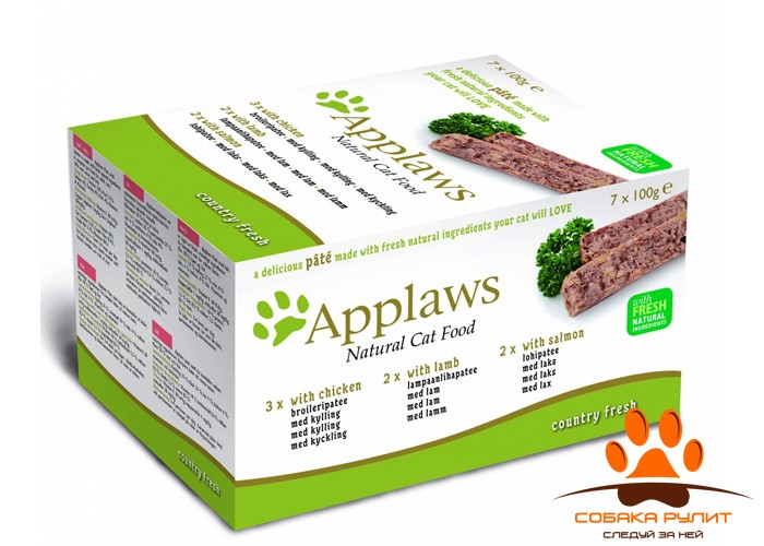 Applaws Набор для Кошек «Курица, Ягненок, Лосось»: 7шт.*100г (Cat Pate MP Chicken, Lamb & Salmon)
