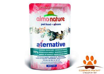 Almo Nature Alternative Паучи для кошек «Индонезийская макрель» 91% мяса
