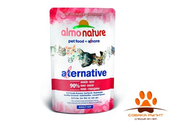 Almo Nature Alternative Паучи для кошек «Говядина» 90% мяса
