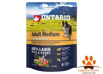Ontario Для собак с ягненком и рисом (Ontario Adult Medium Lamb & Rice