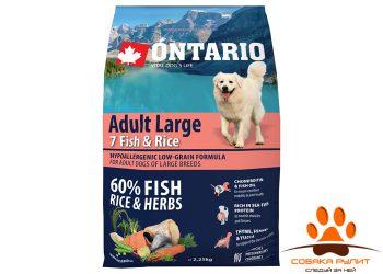 Ontario Для собак крупных пород с 7 видами рыбы и рисом (Ontario Adult Large 7 Fish & Rice