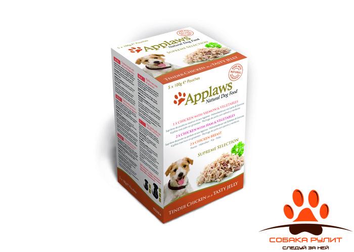 Applaws Набор паучей в желе для собак «Коллекция вкусов» (Dog Jelly Pouch Supreme Selection) 5 шт в упаковке