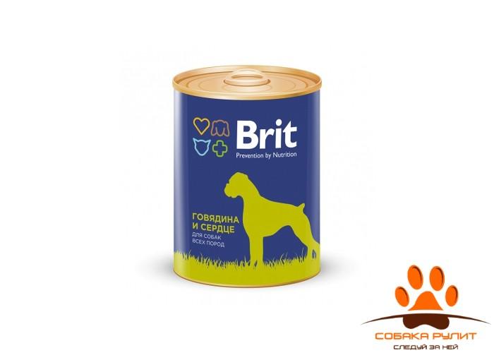 Консервы BRIT «Premium» с говядиной и сердцем для взрослых собак всех пород 850г