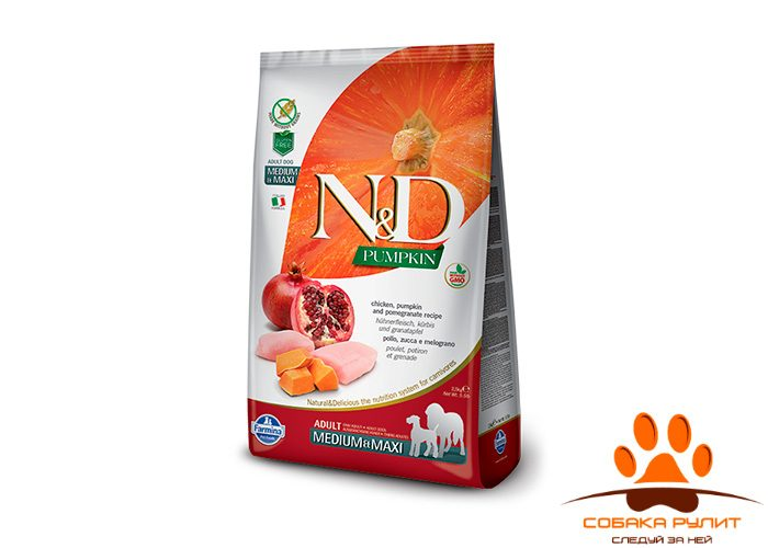 Farmina N&D Dog GF Pumpkin Chicken & Pomegranate Adult Medium & Maxi