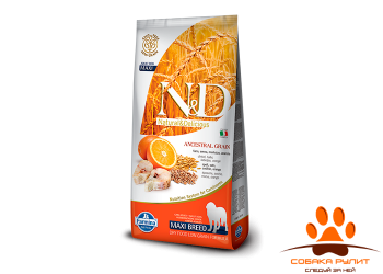 Farmina N&D Low Grain Dog Codfish & Orange Adult Maxi 12 кг