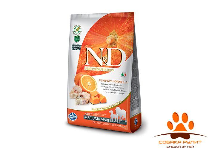 Farmina N&D Dog GF Pumpkin Codfish & Orange Adult Medium & Maxi