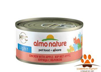 Almo Nature низкокалорийные консервы для кошек с курицей и яблоком 70г