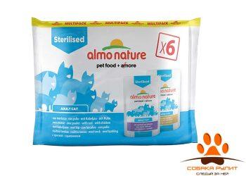 Almo Nature набор паучей для кастрированных котов и кошек, с треской и курицей, 6 шт