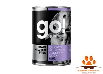 GO! NATURAL Holistic консервы беззерновые с тушеной курицей, индейкой и мясом утки для собак, Grain Free Chicken Stew with Turkey + Duck