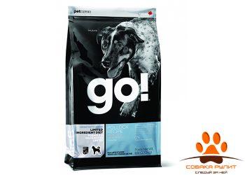 Корм GO! NATURAL Holistic беззерновой для щенков и собак с минтаем для чувствительного пищеварения, Sensitivity + Shine LID Pollock Dog Recipe, Grain Free, Potato Free