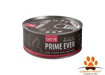 Prime Ever 1B Тунец с крабом с желе влажный корм для кошек жестяная банка 0,08 кг