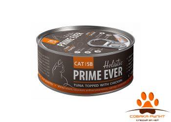 Prime Ever 5B Тунец с цыпленком с желе влажный корм для кошек жестяная банка 0,08 кг