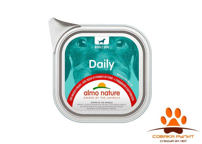 Almo Nature консервы для собак «Меню с говядиной и картофелем», Daily Menu — Beef and Potatoes