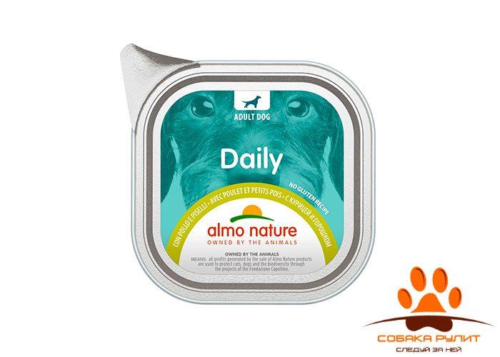 Almo Nature консервы для собак «Меню с курицей и горошком», Daily Menu — Chicken with Pease