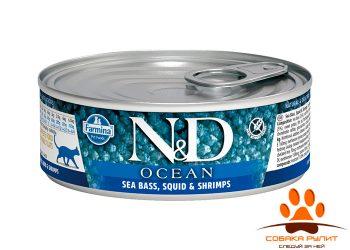 Farmina N&D Ocean Cat Wet Sea Bass & Squid & Shrimps 80г