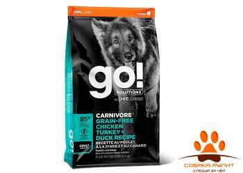 Корм GO! Natural беззерновой для взрослых Собак всех пород 4 вида мяса: Индейка, Курица, Лосось, Утка, GO! CARNIVORE GF