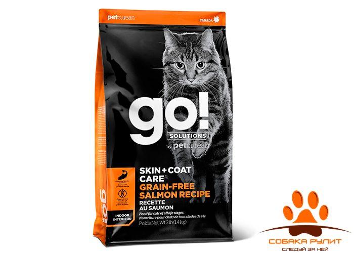 Корм GO! Natural беззерновой для котят и кошек, с лососем, GO! SKIN + COAT