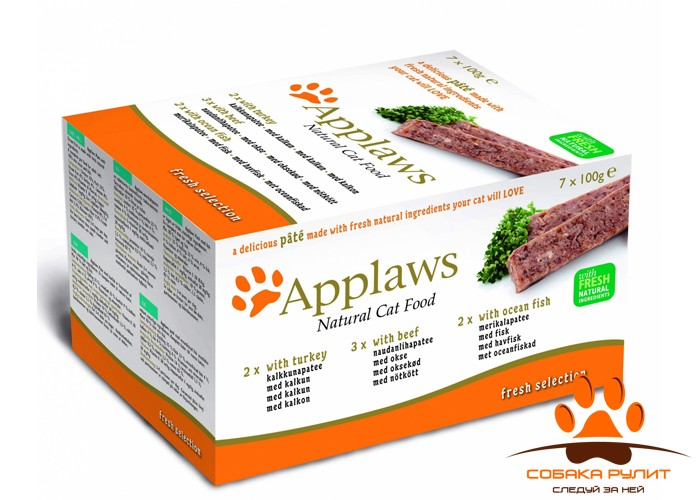 "Applaws Набор для Собак ""Индейка, Говядина, Океаническая рыба"", 5шт.*150г (Dog Pate MP Fresh Selection-  Turkey, beef, ocean fish)"