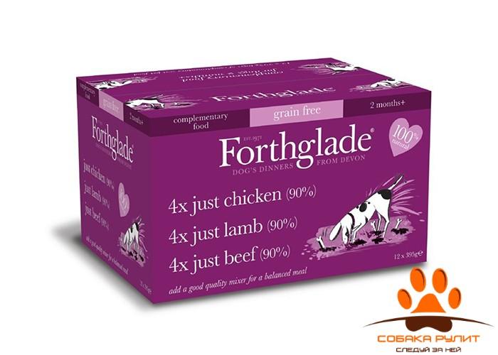 Forthglade Natural Menu Grain Free Multicase (№2) 12 Х 395гр (3 вкуса для собак: цыпленок, говядина и ягненок)