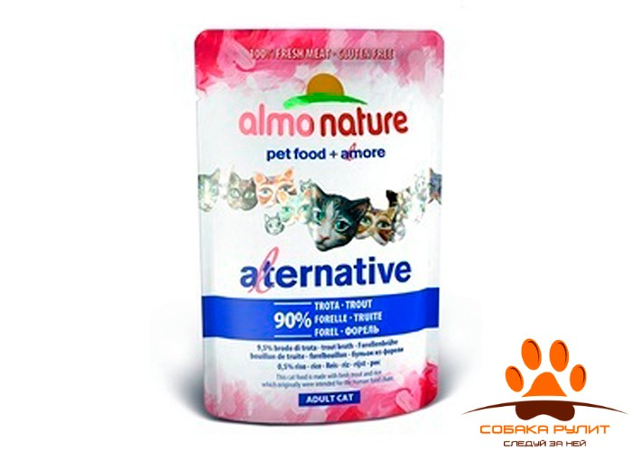 "Almo Nature Alternative Паучи для кошек ""Форель"" 90% мяса"