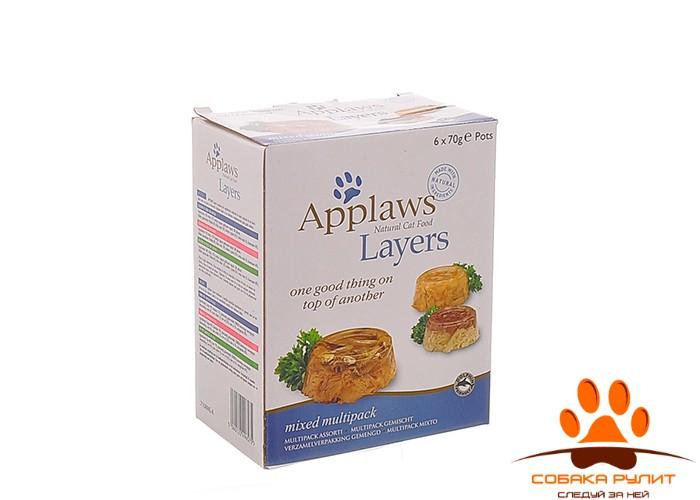 """Applaws Набор для кошек """"Лакомые кусочки в желе: Ассорти"""" 6х70г"""