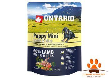 Ontario Для щенков малых пород с ягненком и рисом (Ontario Puppy Mini Lamb & Rice