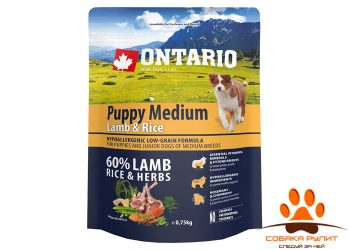 Ontario Для щенков с ягненком и рисом (Ontario Puppy Medium Lamb & Rice