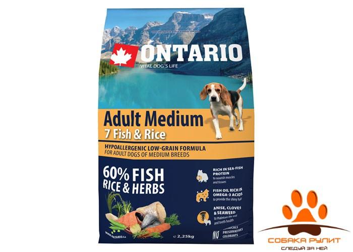 Ontario Для собак с 7 видами рыбы и рисом (Ontario Adult Medium 7 Fish & Rice