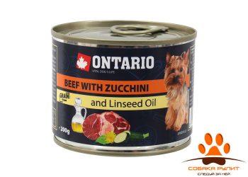 Ontario Консервы для собак малых пород: говядина и цуккини (ONTARIO Mini Beef, Zuchini, Dandelion and linseed oil 200g)