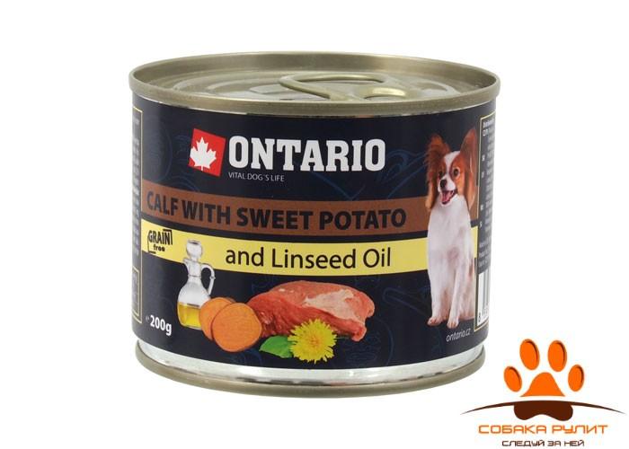 Ontario Консервы для собак малых пород: телятина и батат (OTARIO Mini – Calf, Sweetppotato, Dandelion and linseed oil 200g)