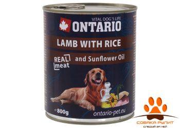 Ontario Консервы для собак: ягненок и рис (ONTARIO konzerva Lamb,Rice,Sunflower Oil)