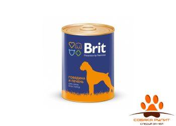 Консервы BRIT «Premium» с говядиной и печенью для взрослых собак всех пород 850г