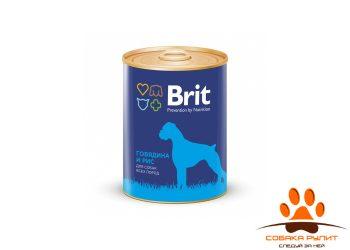 Консервы BRIT «Premium» с говядиной и рисом для взрослых собак всех пород склонных к полноте 850г