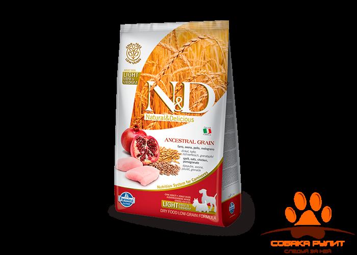 Farmina N&D Low Grain Dog Chicken & Pomegranate Light Mini
