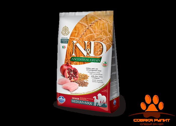 Farmina N&D Low Grain Dog Chicken & Pomegranate Senior Medium & Maxi