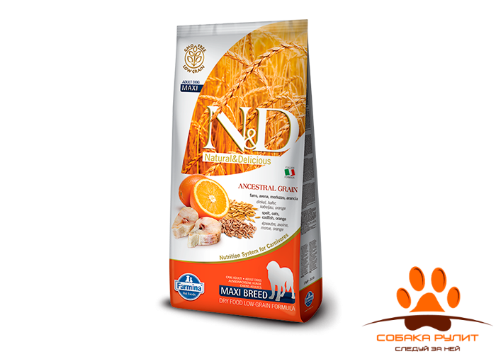 Farmina N&D Low Grain Dog Codfish & Orange Adult Maxi 12 кг