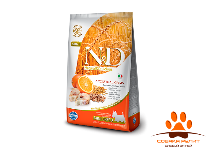Farmina N&D Low Grain Dog Codfish & Orange Adult Mini