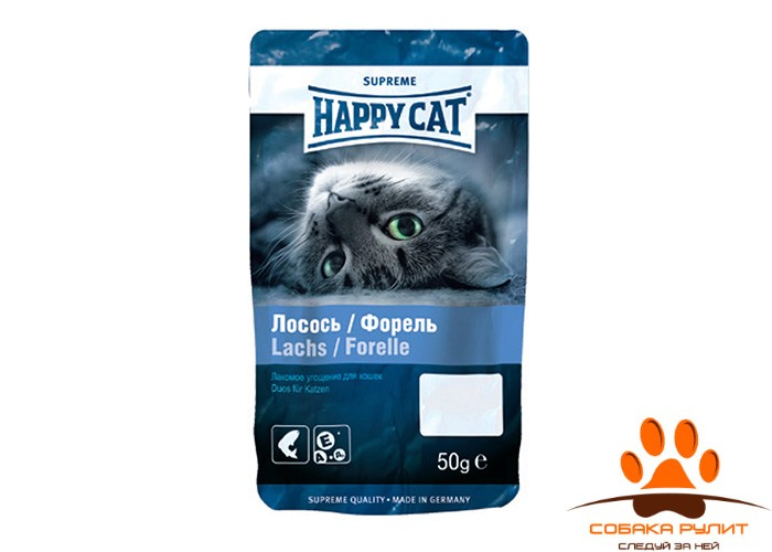 HAPPY CAT Лакомства – угощение с лососем и форелью 50гр