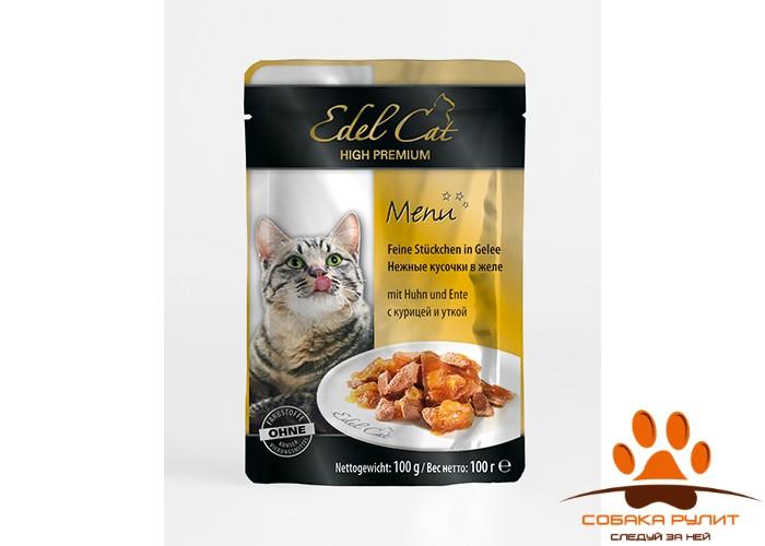 EDEL CAT Кусочки мяса/ Курица и утка 100гр