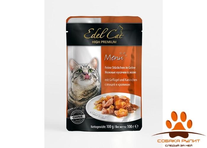 EDEL CAT Кусочки мяса/ Птица и кролик 100гр
