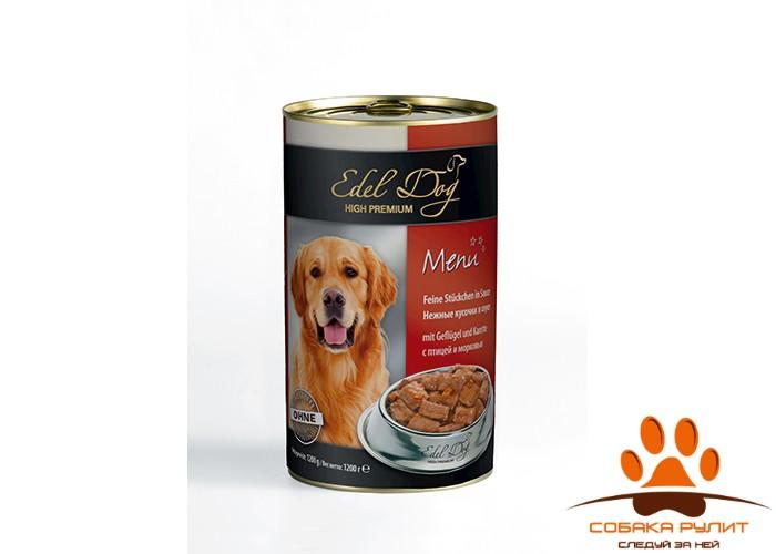 EDEL DOG Кусочки в соусе – Птица и морковь
