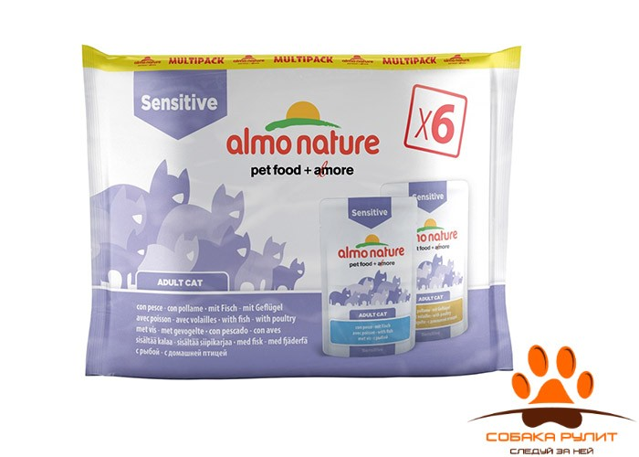 Almo Nature набор паучей для для улучшения работы кишечника, с рыбой и курицей, 6 шт