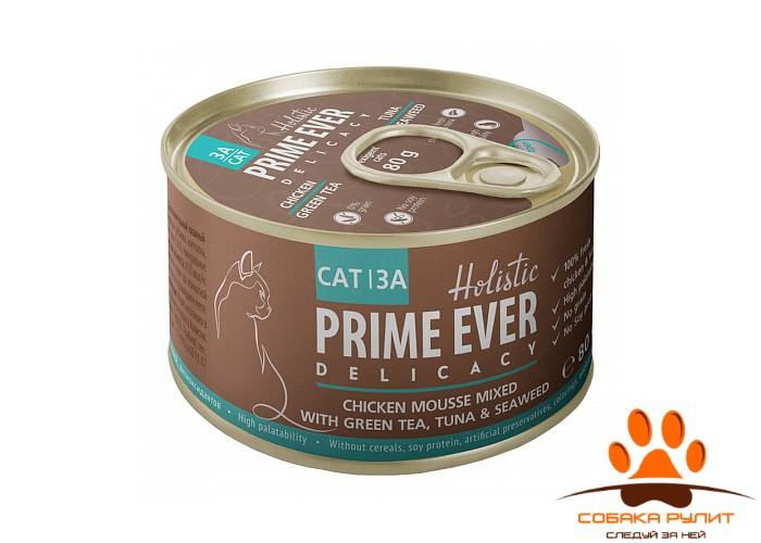 Prime Ever 3A Delicacy Мусс цыпленок с тунцом с зеленым чаем и водорослями влажный корм для кошек жестяная банка 0,08 кг