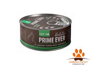 Prime Ever 4B Цыпленок с овощами в желе влажный корм для кошек жестяная банка 0,08 кг