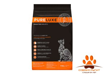 PureLuxe Элитное Питание для длинношерcтных кошек с курицей и лососем
