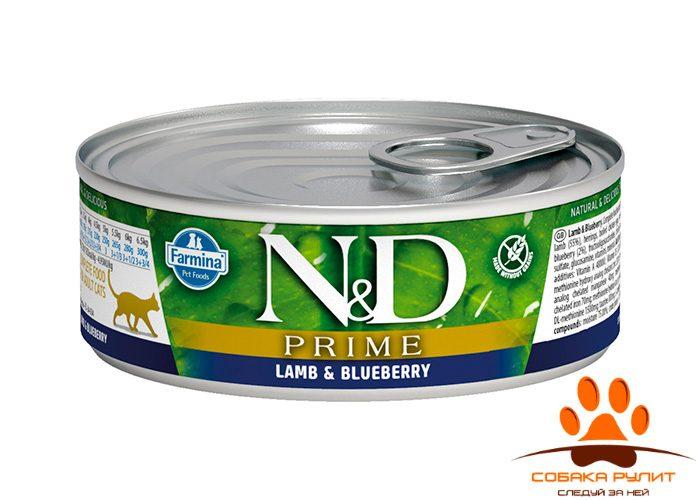 N&D Prime Cat Wet Lamb & Blueberry 80г