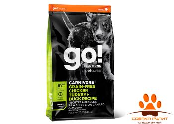 Корм GO! Natural беззерновой для Щенков всех пород 4 вида мяса: Индейка, Курица, Лосось, Утка , GO! CARNIVORE GF