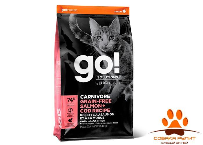 Корм GO! Natural беззерновой корм для котят и кошек, с лососем и треской, GO! CARNIVORE GF Salmon + Cod